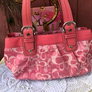 Coach 14492 Pink hobo beautiful leather canvas